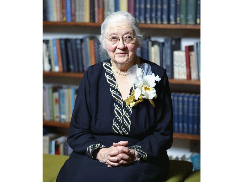 Portrait of Mildred Allen at her 80th birthday celebration at Mount Holyoke College.