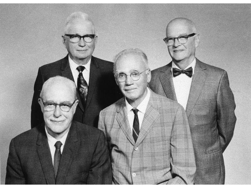 Portrait of Walter Brattain, Everly Workman, Vladimir Rojansky, and Walker Bleakney.