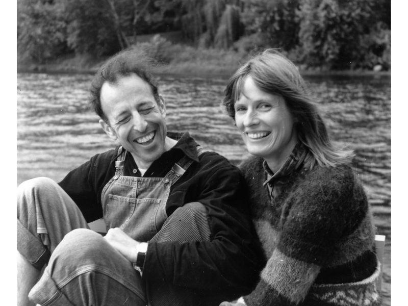 Ben Mottelson and Britta Siegumfeldt laugh together at St. Croix River in Minnesota.