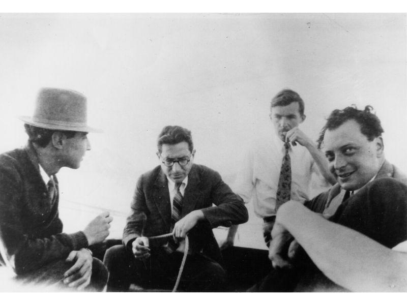 Robert Oppenheimer, Isidor Rabi, H. M. Mott-Smith, and Wolfgang Pauli at Lake Zurich, Switzerland.