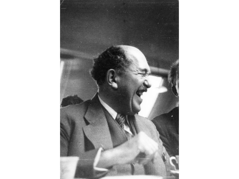 Otto Stern laughs while attending the Copenhagen Conference at the Niels Bohr Institute in 1934.