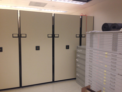 New shelving with existing file cabinets.