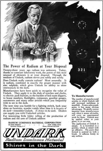 1921 magazine advertisement for Undark, a product of the Radium Luminous Material Corporation which was involved in the Radium Girls scandal.