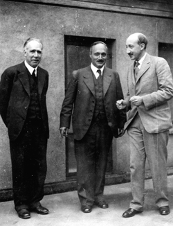 Together after World War II, left to right are Niels Bohr, James Franck and George de Hevesy.