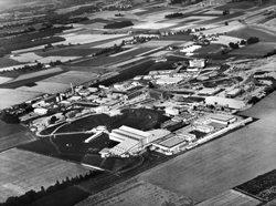 Aerial view of the CERN nuclear research laboratories.