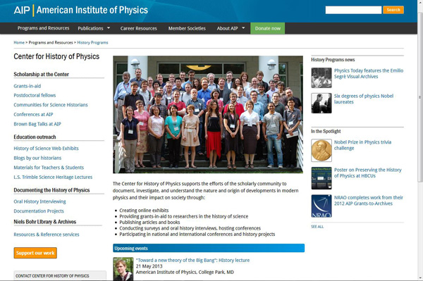 Center for History of Physics home page