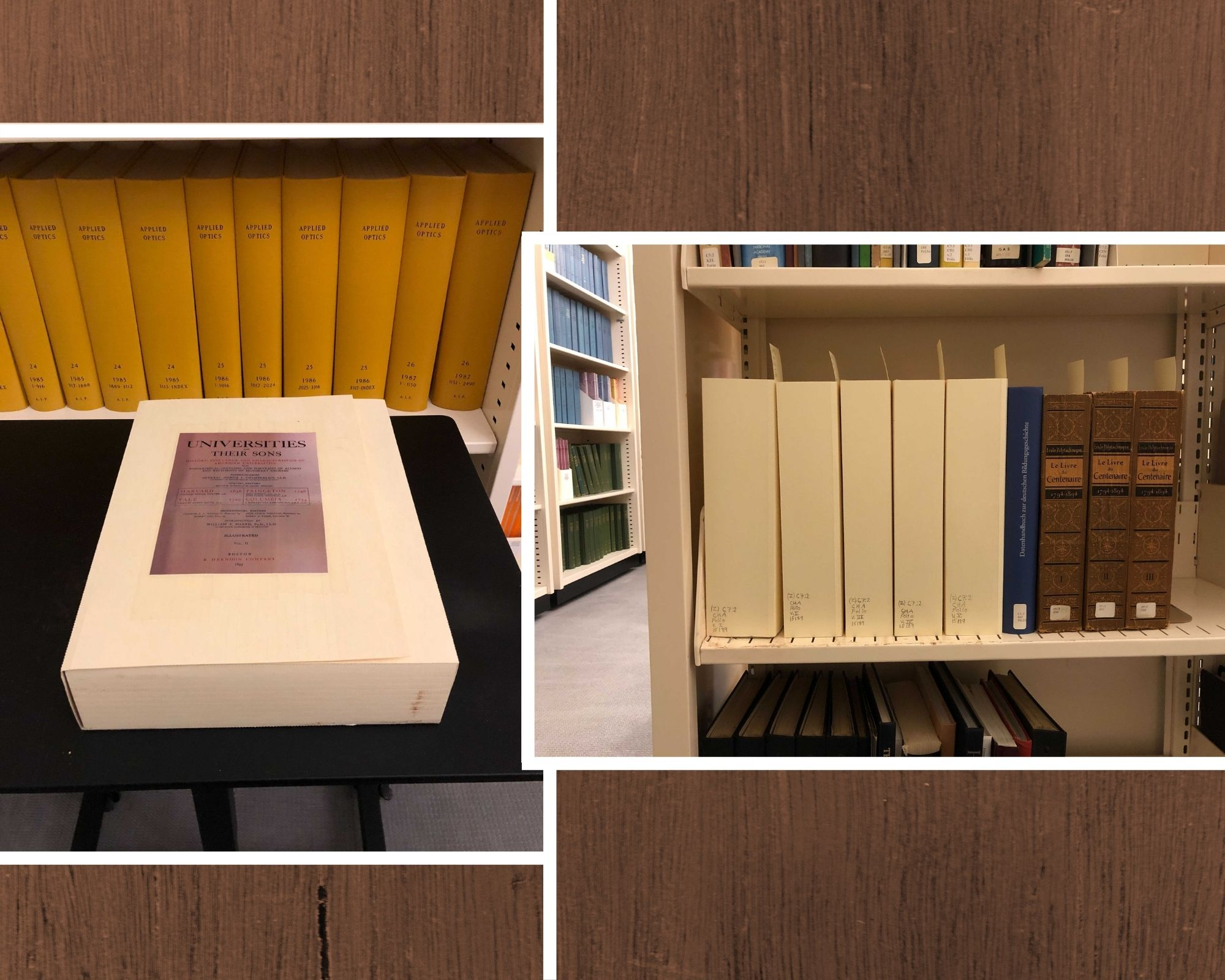 Left: Example of a single 4-flap enclosure. Right: Upright view of multiple 4-flap enclosures in the stacks.