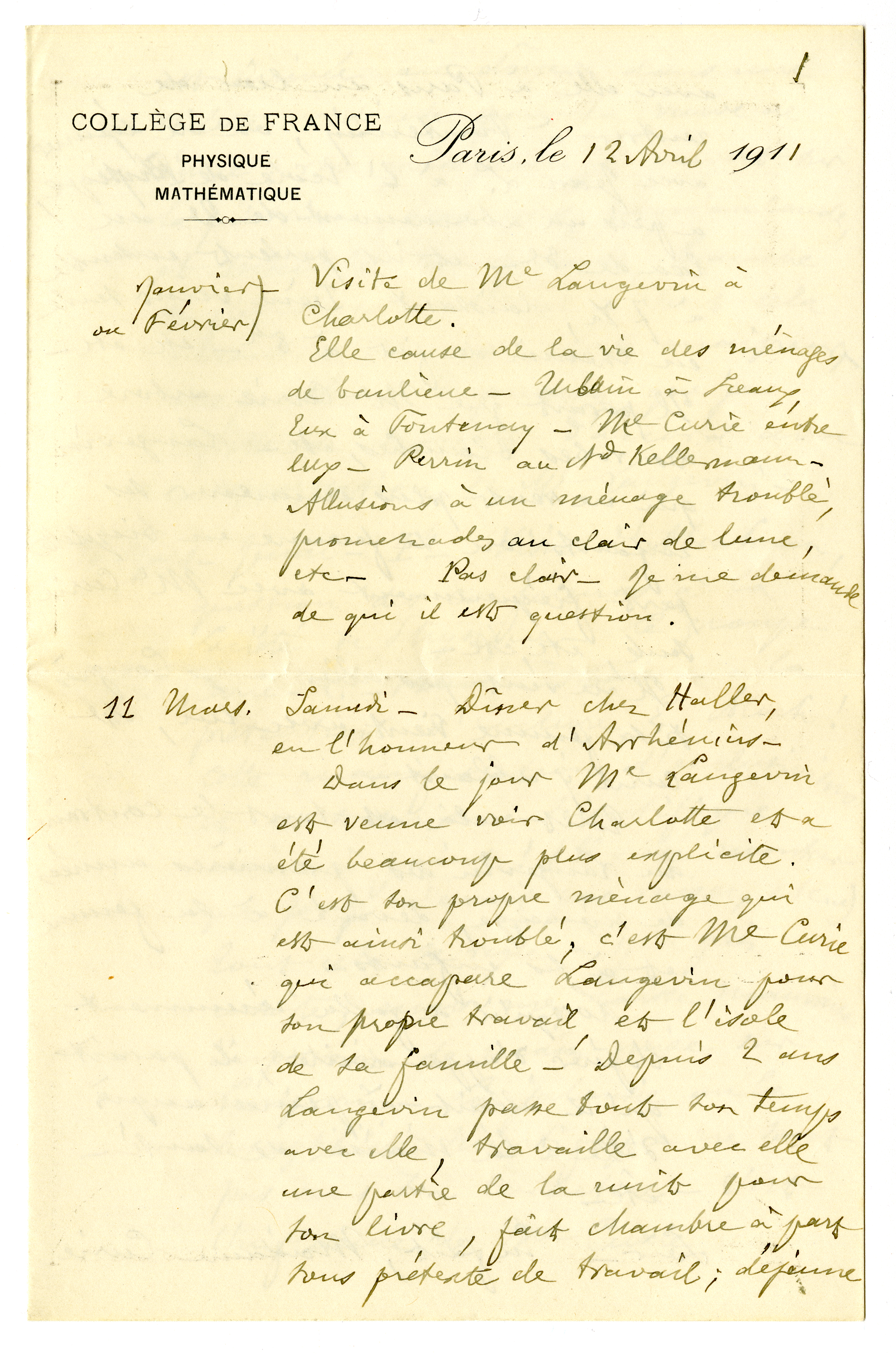 A journal page from the Papers of Léon Brillouin