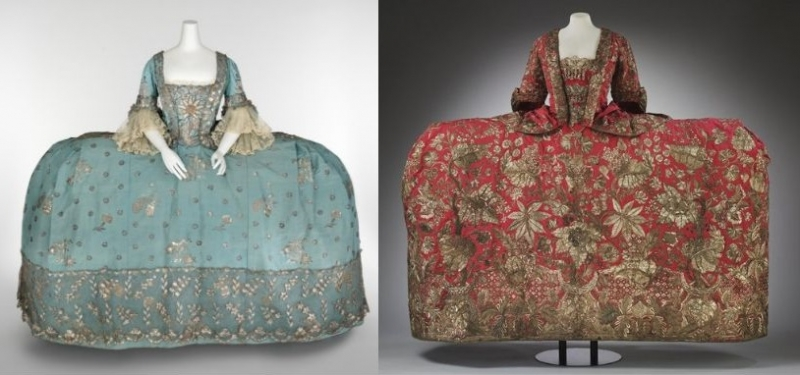 Court dress,ca. 1750 (left). Mantua 1740-1745 (right)