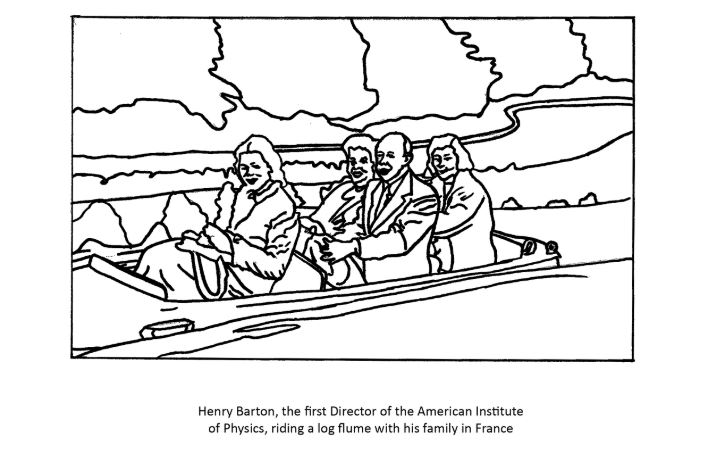Coloring page jpeg of Photo of the Barton family in France on a boat ride