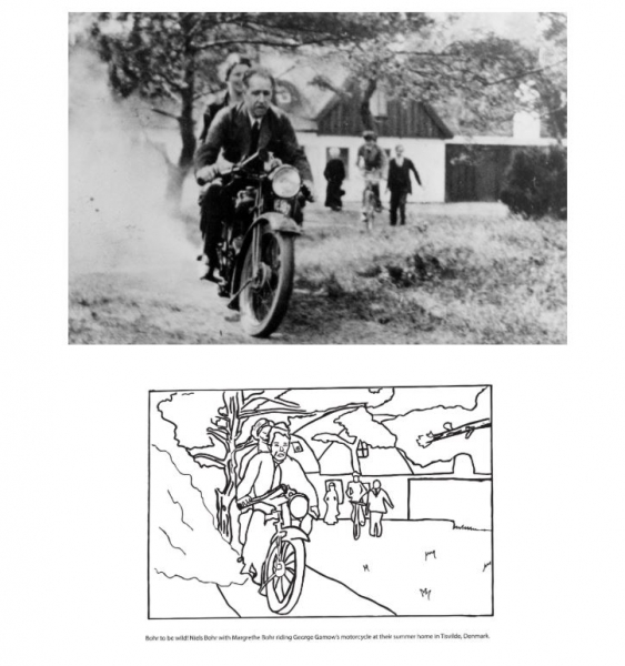 Niels and Margerthe Bohr riding George Gamow's motorcycle at the summer home in Tisvilde, Denmark