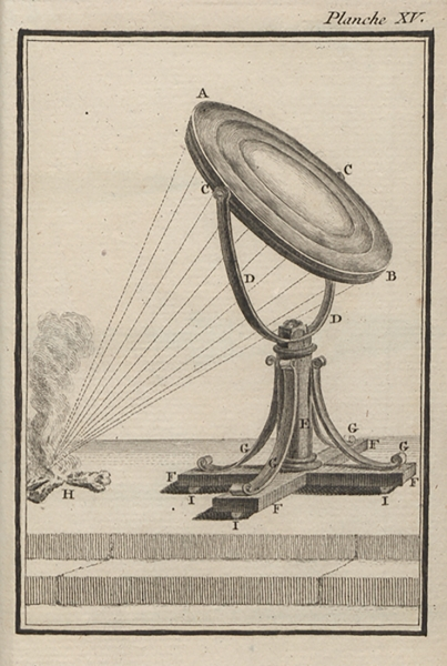 Vol. II, plate XV: A drawing of a burning mirror that Buffon used. Burning mirrors could produce flames at their focal point and were used to achieve high temperatures in Buffon's era.