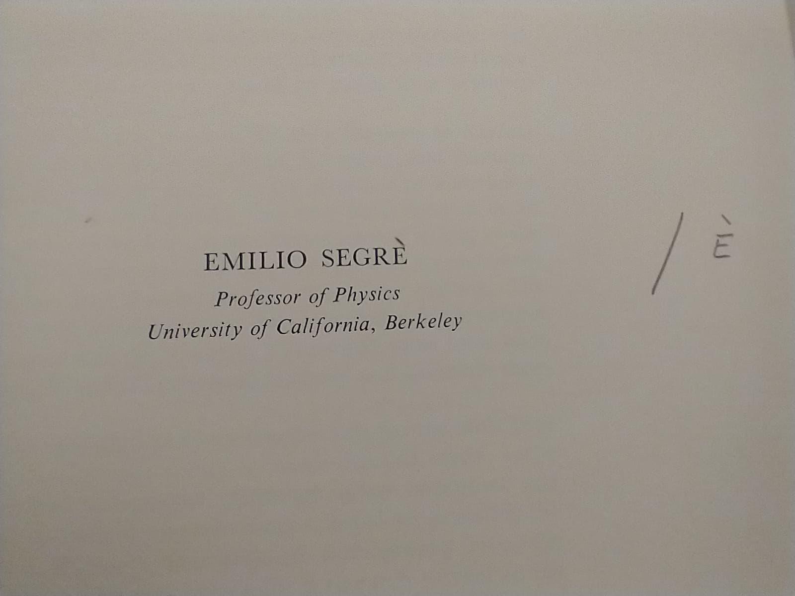 Title page: Emilio Segre (corrected to Segrè), Professor of Physics, University of California, Berkeley