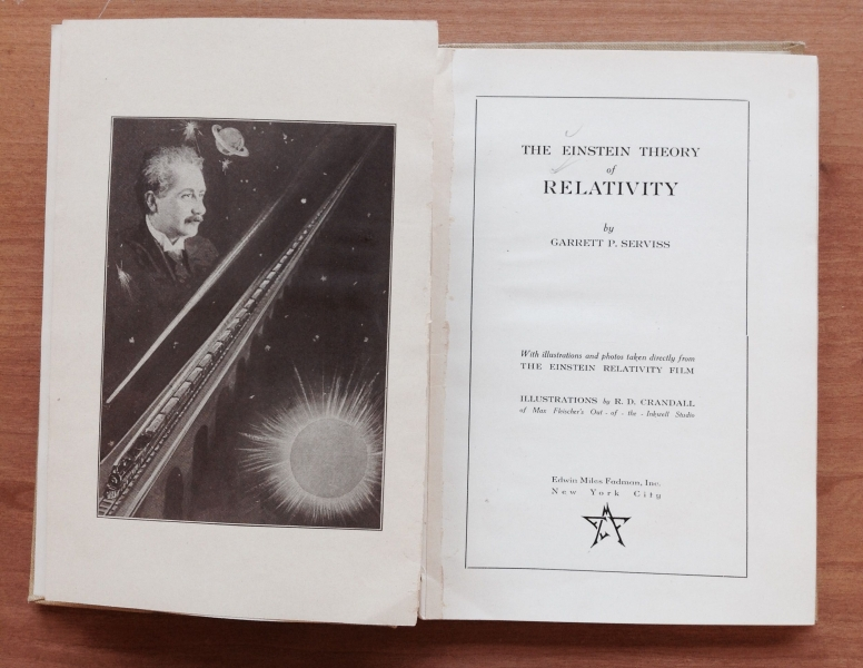 """Image features the title page of our library book """"The Einstein Theory of Relativity"""" by Garrett P. Serviss, copyright 1923."""