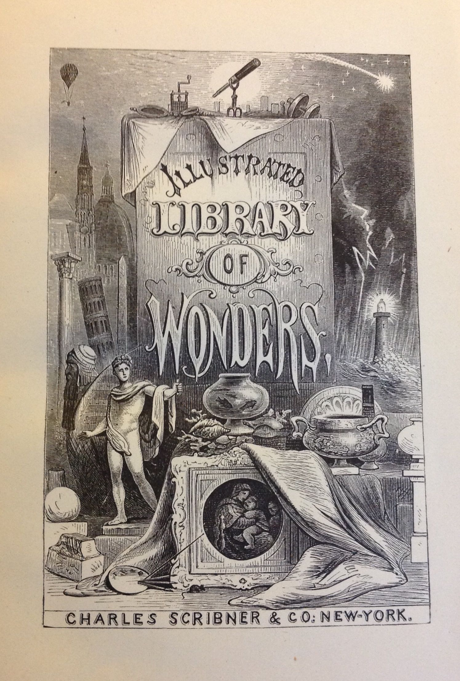 """Caitlin: This """"Library of Wonders"""" illustration in Wonders of Electricity. I like the spooky vibes. It would be perfect to post in October. Libraries are certainly full of """"wonders""""! You never know what hidden gem you might find inside a book!"""