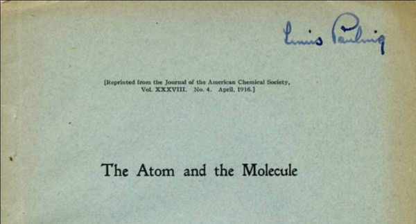 """Front cover of """"The Atom and the Molecule"""" with Linus Pauling's signature."""