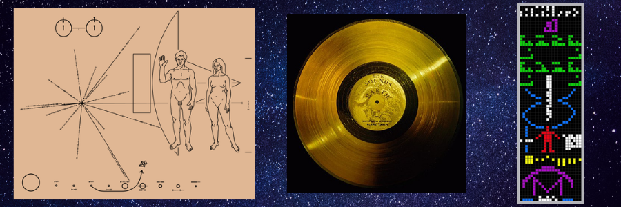 L-R: The Pioneer Plaque (public domain), The Voyager Golden Record (public domain), and a visual representation of the Arecibo Message.