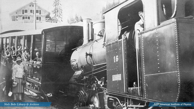Hedwig Kohn boarding a mountain railway train.