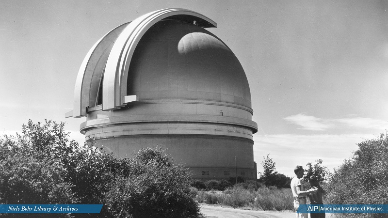 Palomar Observatory -- the huge dome on Palomar Mountain 65 miles north of San Diego City, housed the world's largest telescope (1948-1993). The giant 200-inch mirror enables scientists to explore an area one billion light years away. The observatory is r