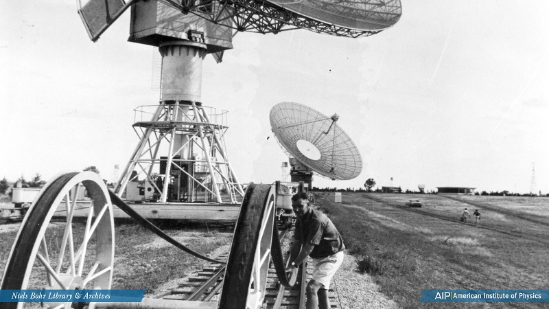 Searching for quasars with a radio telescope rolling on a railroad track, in Australia, a scene from 'The Violent Universe' on Public Broadcast Laboratory.