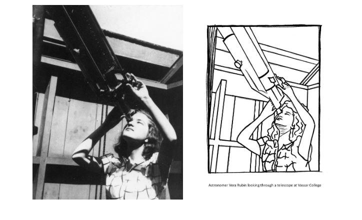 Early photo of astronomer Vera Rubin looking through a telescope