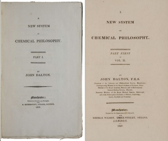 Title pages of volumes I and II of A New System of Chemical Philosophy by John Dalton.