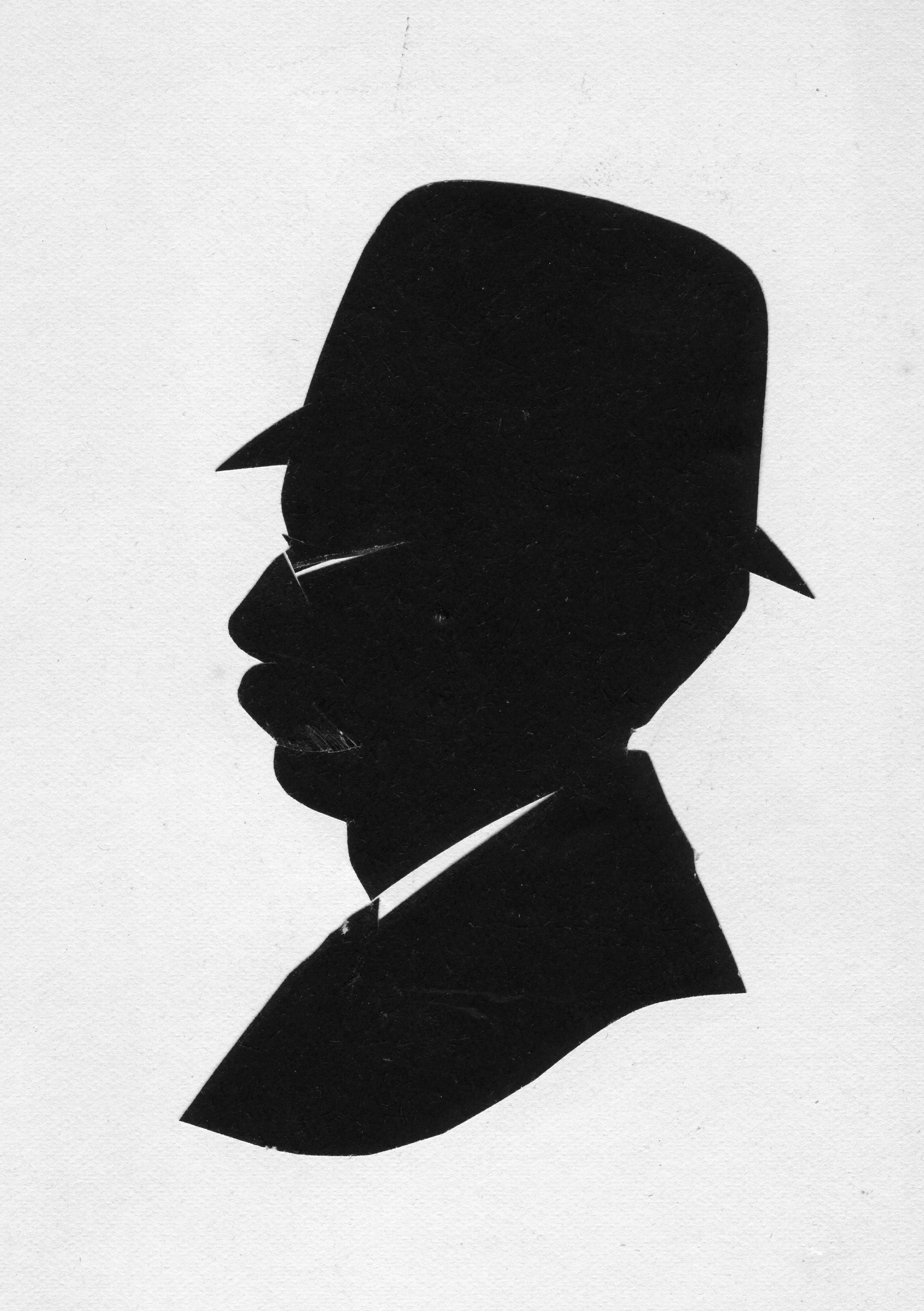 Silhoutte of Seth Chandler wearing a hat and glasses.