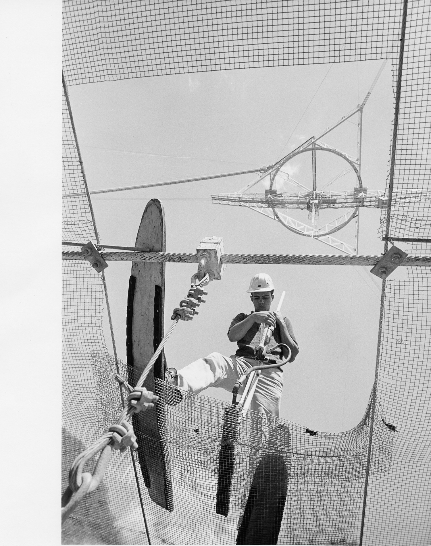 A worker on the Arecibo dish