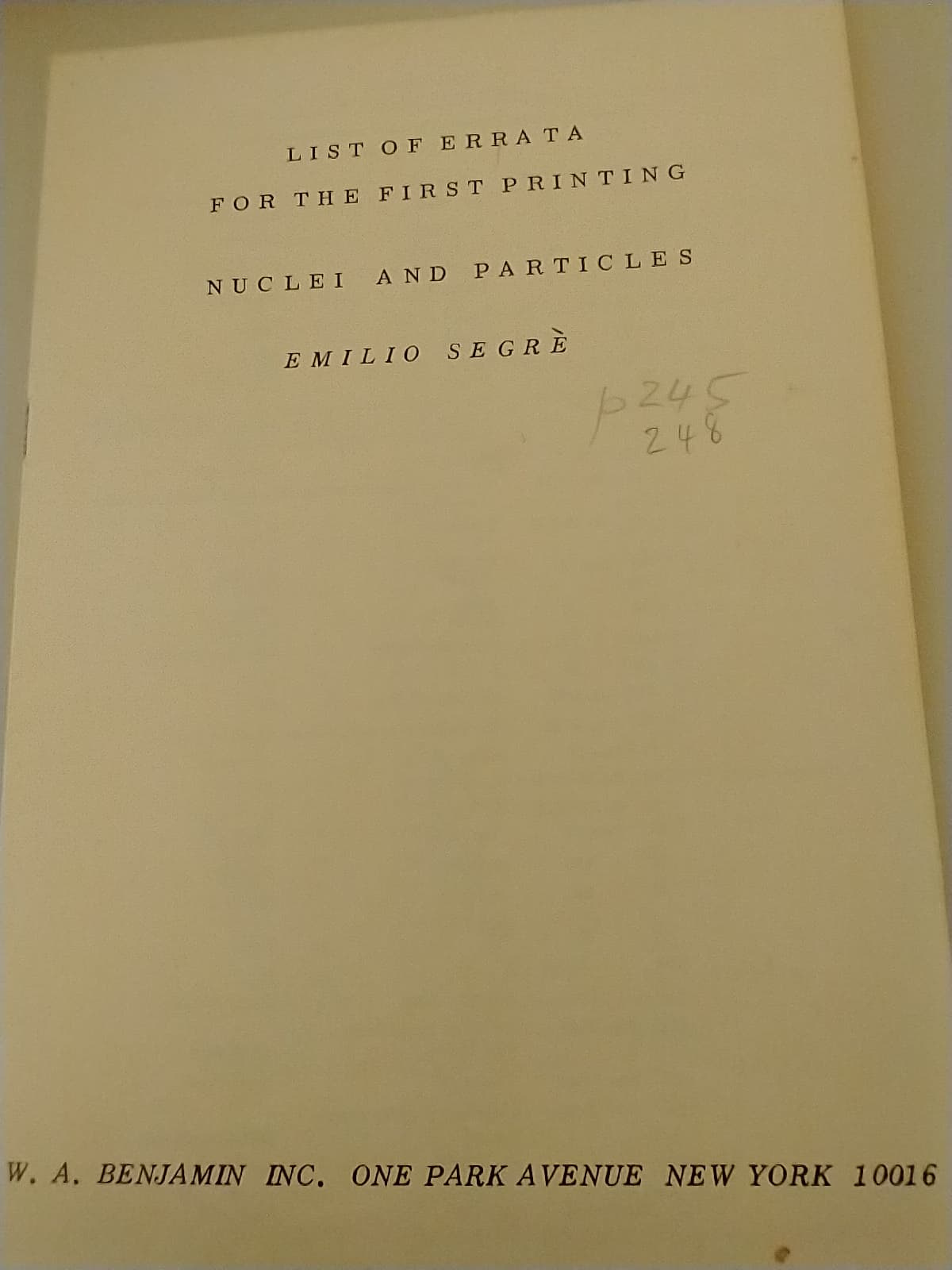 List of Errata for the First Printing title page with Emilio Segre corrected to Emilio Segrè