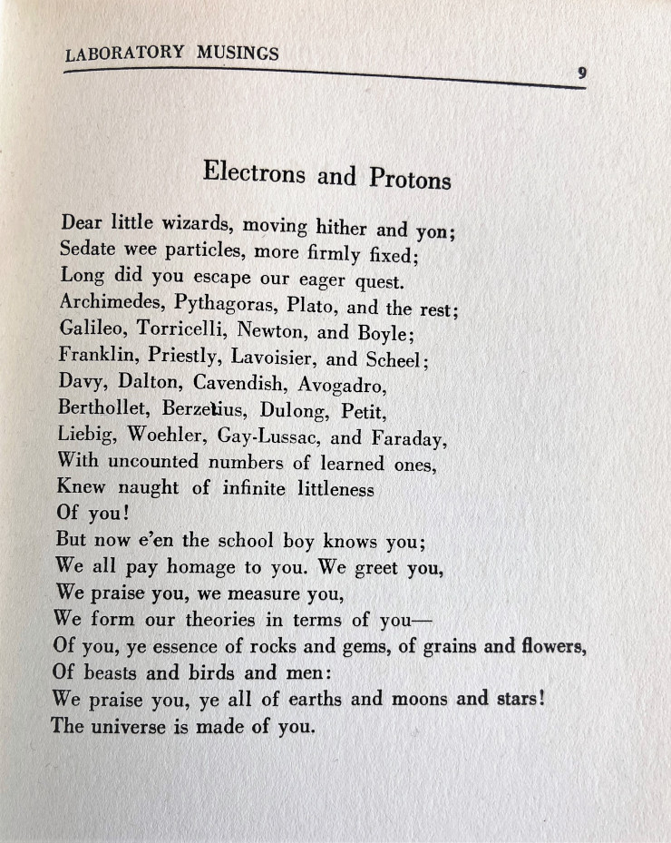 """The text of """"Electrons and Protons"""" reads in part: """"Dear little wizards, moving hither and yon; / Sedate wee particles, more firmly fixed; / Long did you escape our eager quest."""" etc."""