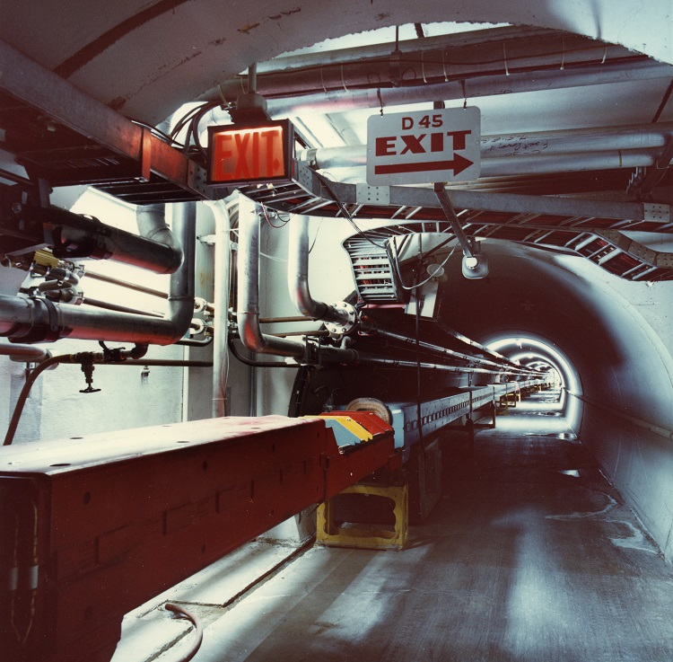 View of the tunnel which comprises the 'Main Ring' at Fermi National Accelerator Laboratory