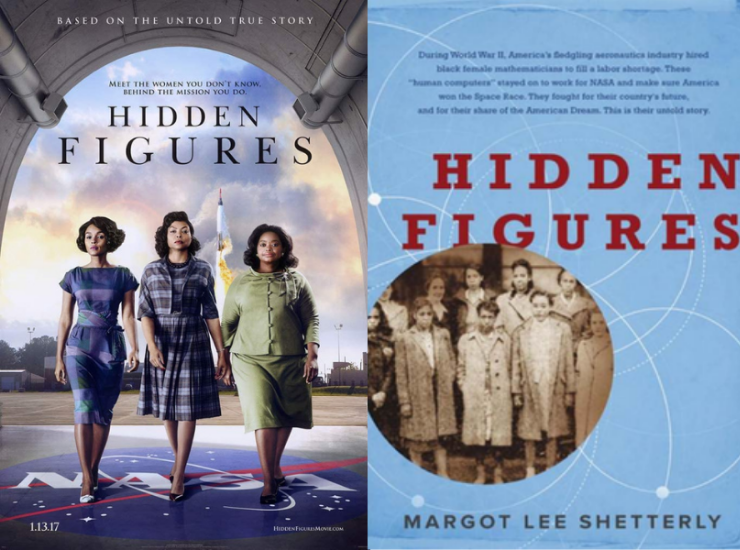 Movie poster next to the book cover of Hidden Figures