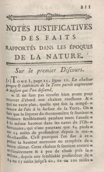 Vol. X, pg. 211: Notes justifying the facts in Époques.