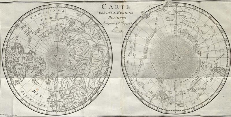 Vol. X, facing pg.372: Maps depicting the earth from the two polar regions.