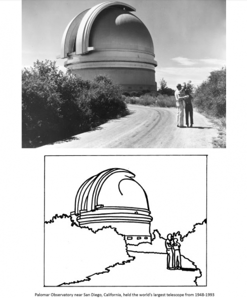 Palomar Observatory -- the huge dome on Palomar Mountain 65 miles north of San Diego City, housed the world's largest telescope (1948-1993)