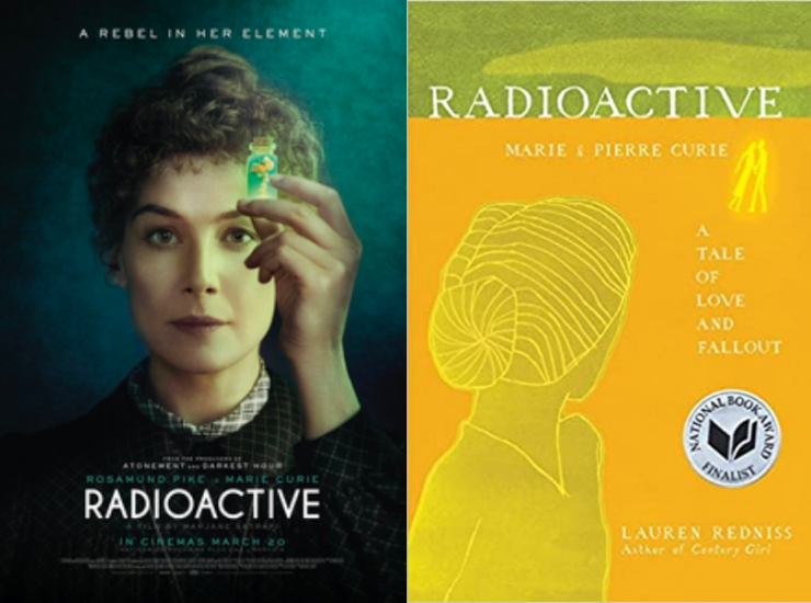 Movie poster next to the book cover of Radioactive