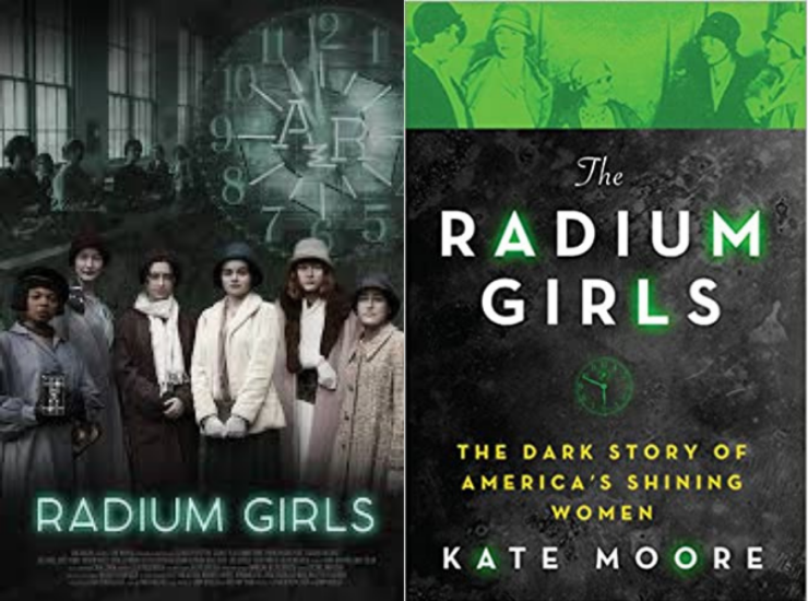 Movie poster next to the book cover of Radium Girls