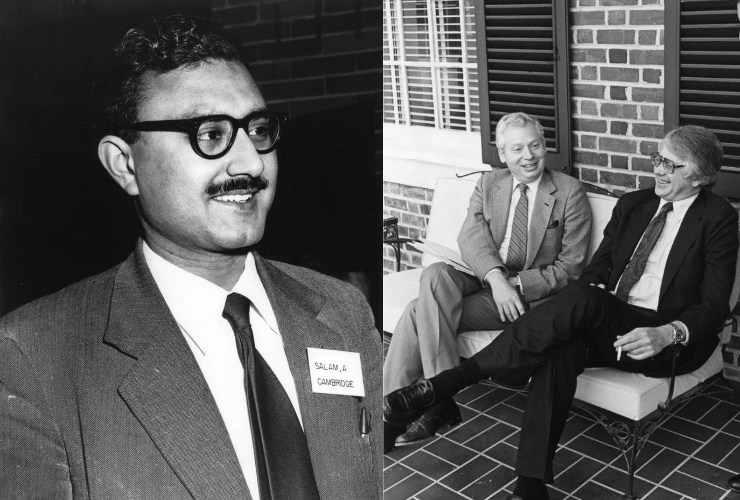 Left, Abdus Salam, and right, Steven Weinberg and Sheldon Glashow, the 1979 Nobel Laureates in Physics, who were recognized for their work on electroweak theory.