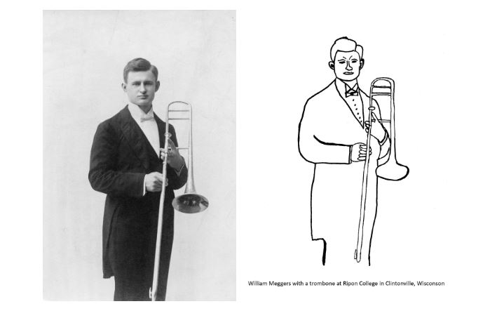 Physicist William Meggers holding a trombone