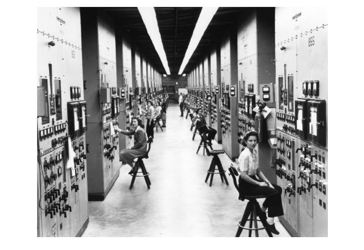 Calutron operators at an electromagnetic isotope separation plant in Oak Ridge National Laboratory during World War II.