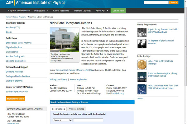 Niels Bohr Library & Archives home page