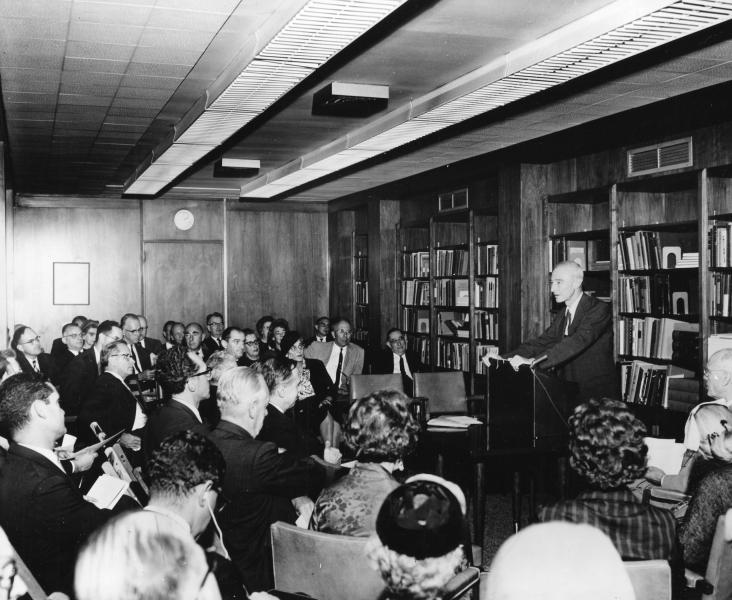 Robert Oppenheimer speaking at the Niels Bohr Library Dedication in New York
