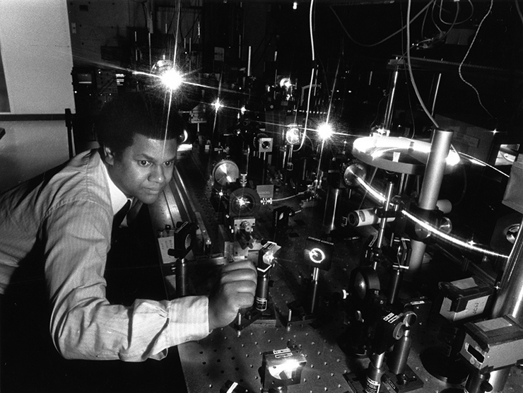 Anthony Johnson in ultrafast laser lab