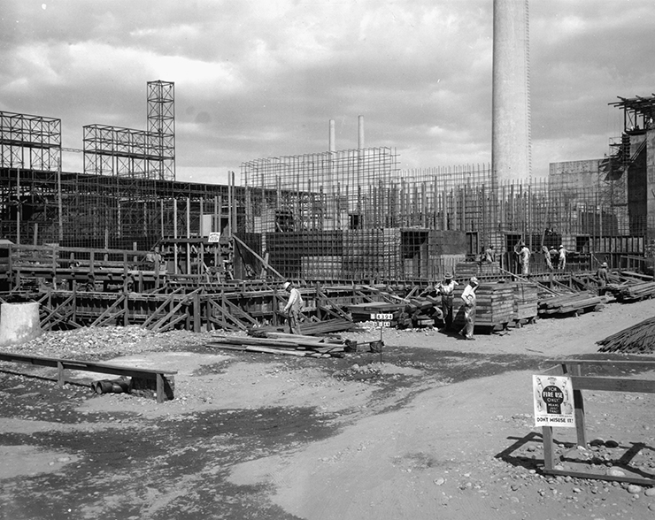 Construction at the Hanford site of the Manhattan Project.