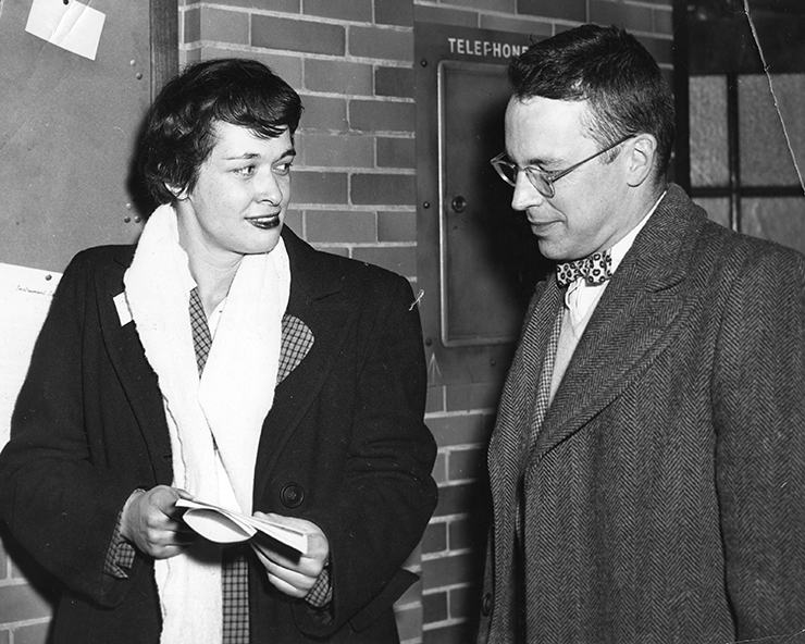 Leona Woods Marshall (left) with husband John Marshall at the Third International Conference on High Energy Physics (ICHEP), Rochester, 1952, (AKA) The Rochester Conference.