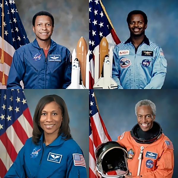 Clockwise from top left: Michael P. Anderson, Ronald E. McNair, Guion S. Bluford Jr., Jeanette J. Epps