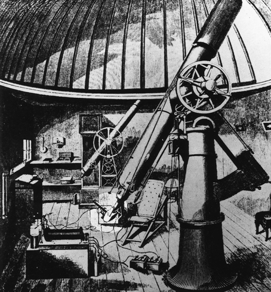 "The 8"" telescope with which Sir William Huggins first photographed the spectra of stars in 1866"