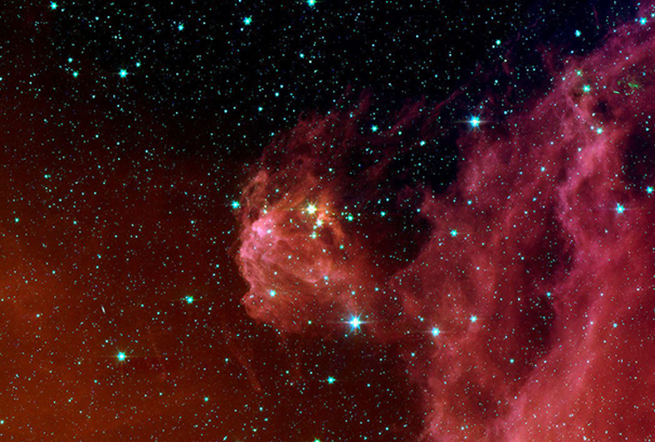 Star formation in the constellation Orion as photographed in infrared by NASA's Spitzer Space Telescope.
