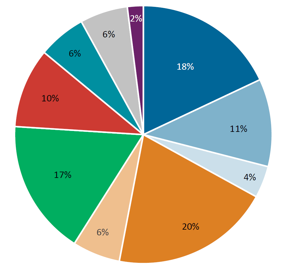Physics PhD employment sectors pie chart