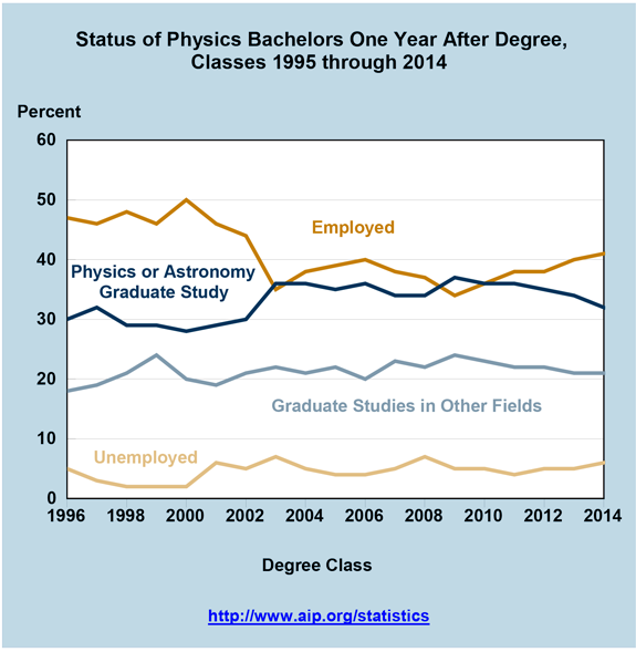 Status of Physics Bachelors One Year After Degree